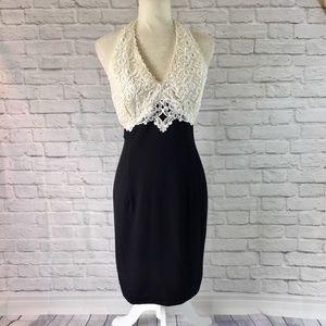 Scott McClintock black cream lace cocktail dress